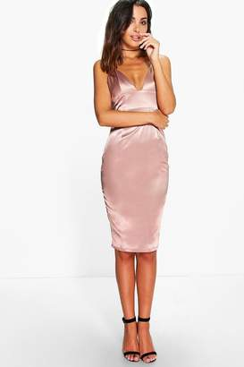 boohoo Hillary Satin Strappy Plunge Bodycon Dress $35 thestylecure.com