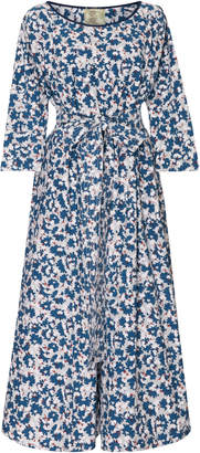 Yvonne S Belted Printed Stretch-Cotton Midi Dress