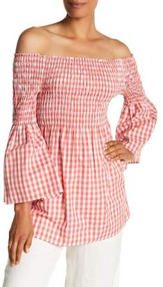 Max Studio Gingham Off-the-Shoulder Blouse