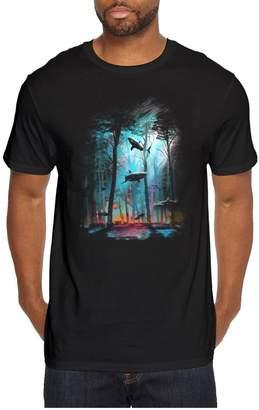 Juliuse Marthar Men's Short Sleeve Shark Forest Vintage T Shirts Print
