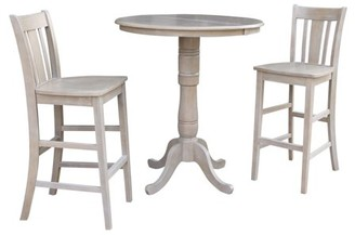 """INC International Concepts 36"""" Round Bar Height Table with 12"""" Leaf and 2 San Remo Stools - Washed Gray Taupe - 3 Piece Set"""