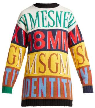 MSGM Logo Intarsia Crew Neck Sweater - Womens - Yellow Multi