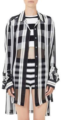 Marc Jacobs Long Wide-Stripe Button-Front Shirt