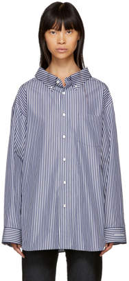 Balenciaga Navy and White Striped Swing Collar Shirt