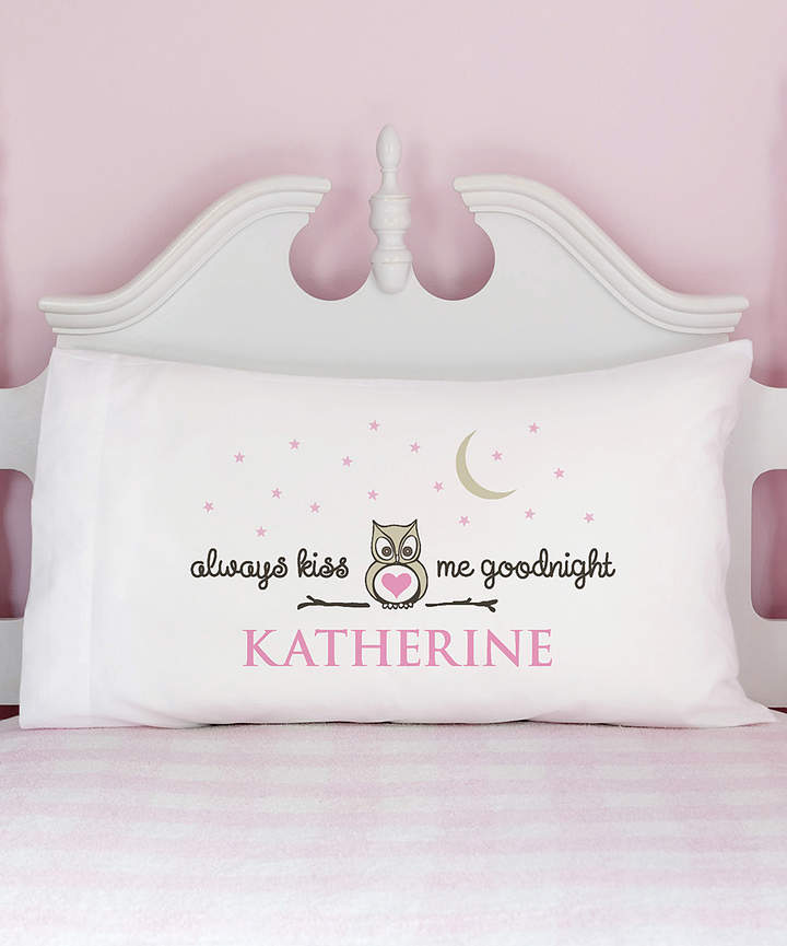 Pink 'Always Kiss Me Goodnight' Personalized Pillowcase
