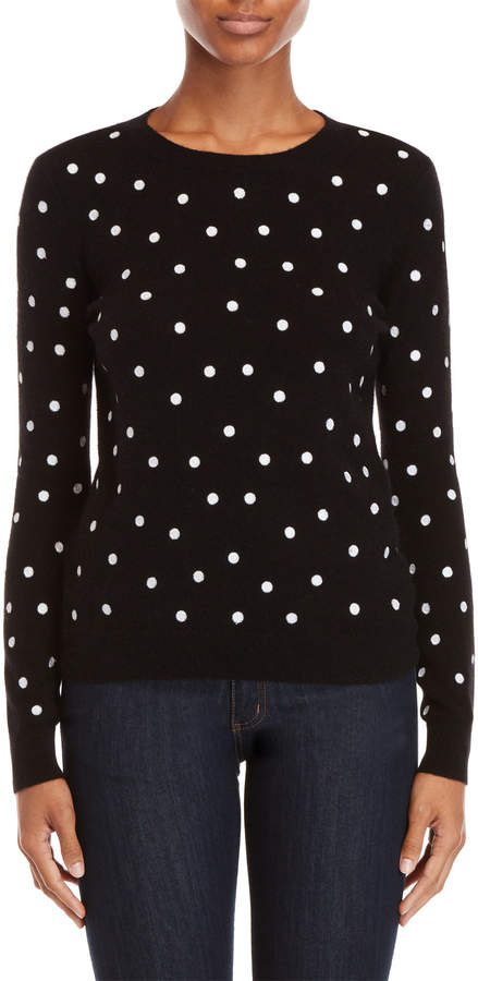 Vertical Design Cashmere Embroidered Dot Sweater