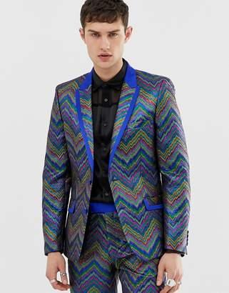 Asos Edition EDITION slim tuxedo jacket in multi colored zig zag jacquard
