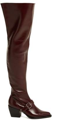 Chloé Over The Knee Leather Boots - Womens - Burgundy