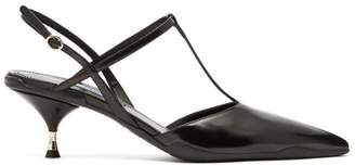 Prada T Bar Slingback Polished Leather Heels - Womens - Black