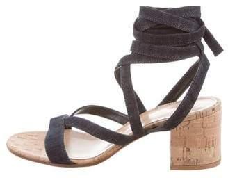 Gianvito Rossi Lace-Up Denim Sandals