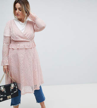Lovedrobe Allover Lace Wrap Front Midi Dress