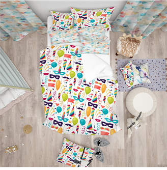 Icons Designart 'Celebration Pattern With Carnival and Objects' Modern Kids Duvet Cover Set - Queen Bedding