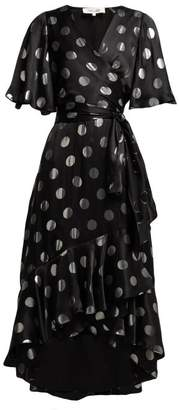 Diane von Furstenberg Sareth Polka Dot Silk Blend Wrap Dress - Womens - Black Silver