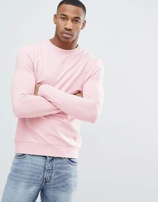 Asos DESIGN Muscle Sweatshirt In Light Pink