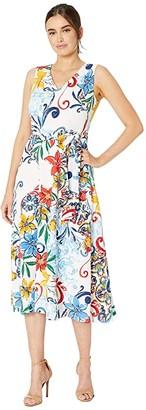 Tahari ASL Multicolor Pebble Crepe Side Tie Dress