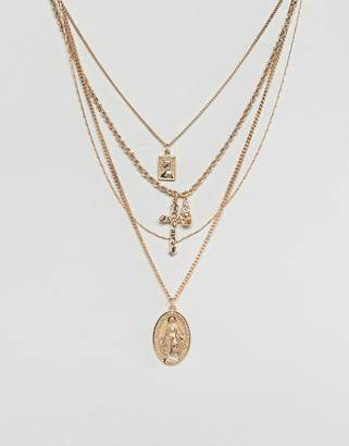 Icon Eyewear Asos Design ASOS DESIGN multirow necklace with vintage style and cross pendants in gold