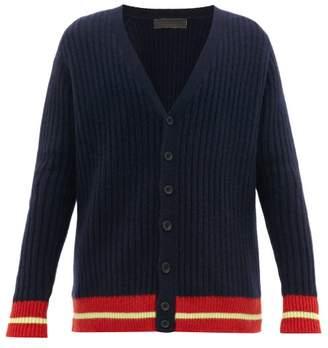 The Elder Statesman Hem Stripe V Neck Cashmere Cardigan - Mens - Navy Multi