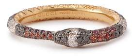 Gucci Ouroboros 18kt Gold Diamond & Sapphire Ring - Womens - Gold