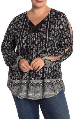 Lucky Brand Printed Lace Peasant Blouse (Plus Size)