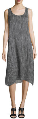Eileen Fisher Firefly Printed Crinkle Silk Dress, Black $298 thestylecure.com