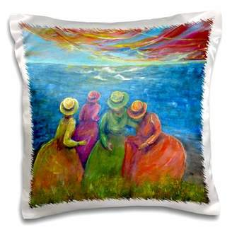 3dRose Frolic, 4 seaside sisters visit the seascoast - Pillow Case, 16 by 16-inch
