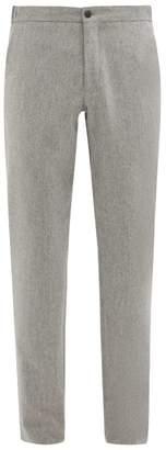 Incotex Internal Drawstring Wool Slim Leg Trousers - Mens - Light Grey