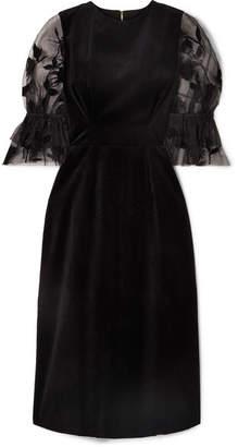 Mother of Pearl Faith Velvet And Flocked Tulle Midi Dress - Black