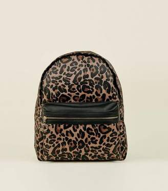 At New Look Brown Leopard Print Backpack