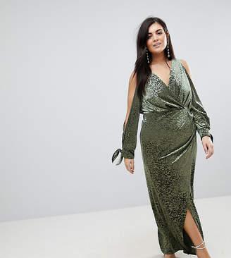 Asos Cold Shoulder Velvet Animal Devore Maxi Dress