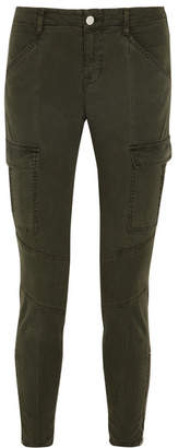 J Brand - Houlihan Cropped Stretch-cotton Twill Skinny Pants - Army green $230 thestylecure.com