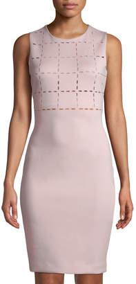 Donna Karan Laser-Cut Body-Con Scuba Dress