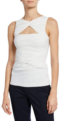 Chiara Boni Puk Sleeveless Shirred Cutout Top