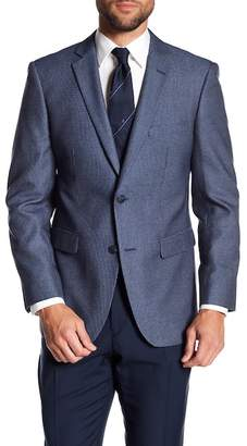 Perry Ellis Dark Blue Plaid Two Button Notch Lapel Slim Fit Sportcoat
