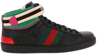 Gucci Sneakers New Ace High Sneakers In Soft Leather With Web Nylon Bands