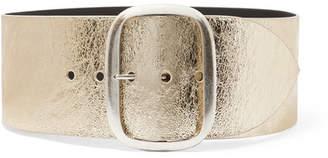 Tikky Metallic Textured-leather Waist Belt - Gold