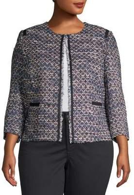 Tahari Arthur S. Levine Plus Boucle Open-Front Jacket