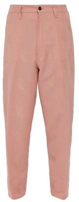 Ann Demeulemeester Alexa Rose Jacquard Cotton Blend Trousers - Mens - Pink