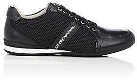 Emporio Armani Men's Rubber-Detailed Leather Sneakers-Black Size 7 M
