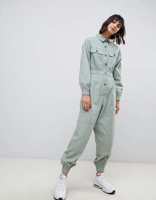 Asos Design DESIGN boilersuit with contrast buttons