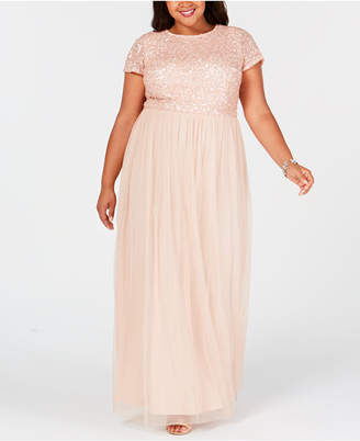 a03766ad118 Adrianna Papell Plus Size Sequined Tulle A-Line Gown