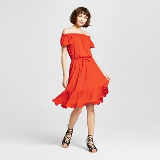 Mossimo Women's Smock Off The Shoulder Dress Orange - Mossimo $29.99 thestylecure.com