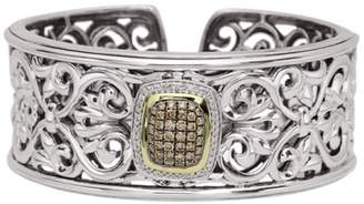 Charles Krypell 18k Yellow Gold and Sterling Silver Diamond Cuff Bracelet
