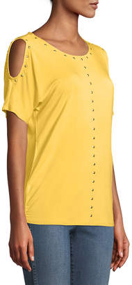 Carmen Marc Valvo Carmen By Dome-Studded Cold-Shoulder Tee