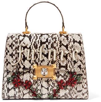 Gucci Osiride Embellished Elaphe Tote - Black