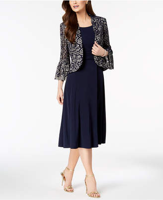 Jessica Howard Ruched Dress & Lace Bell-Sleeve Jacket in Petite & Regular Sizes