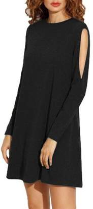 Lintimes Leadingstar Women Cold Shoulder Long Sleeve Loose Drape Tunic Dress Color:Black Size:L