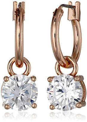 Anne Klein Gold Tone Hoop Pierced Crystal Drop Earrings