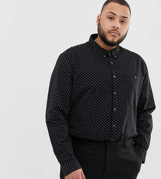Burton Menswear Big & Tall oxford shirt in black geo