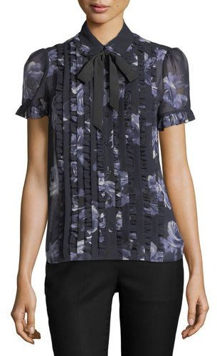 Kate Spade New York Night Rose Sheer Short-Sleeve Button-Front Top