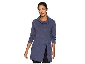 Mod-o-doc Slubby Sweater Knit Cowl Neck Asymmetrical Front Slit Tunic